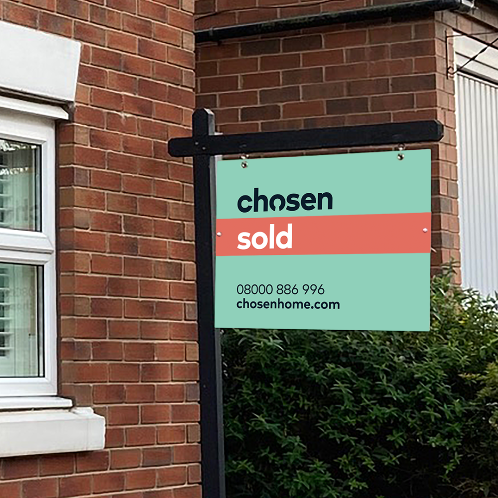 chosen home sold board outside house, house prepared for viewings and sold