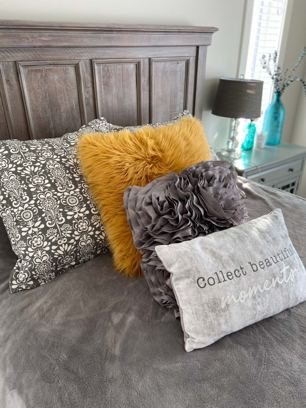 autumnal coloured bed covers and cushions