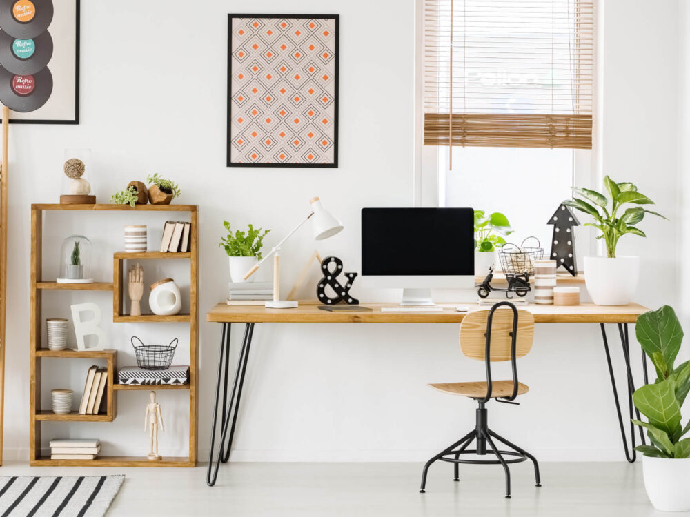 modern home office space with shelving