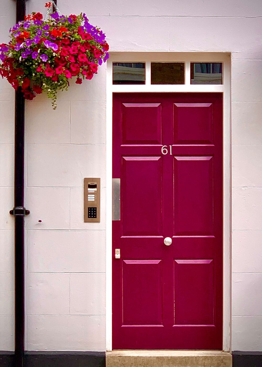 red front door from outside with flower basket hanging next to it preparing your home for viewing