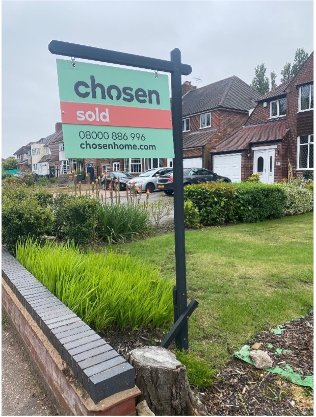 sell home sutton coldfield chosen for sold board