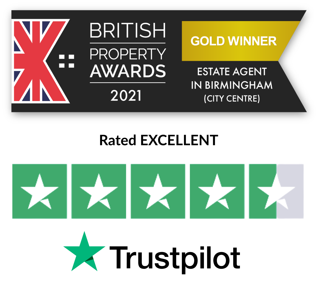 estate agent award winning and rated excellent on trustpilot
